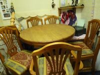 dining table/5 chairs, solid wood, glazed pine, table extends to sit 8, bargain £70