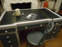 vintage large desk and chair
