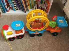 Toot toot pull along animal train with hamster