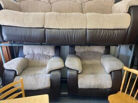 RECLINER 3 PIECE FABRIC SOFA SUITE ALL SIDES OF SOFAS FULLY RECLINER