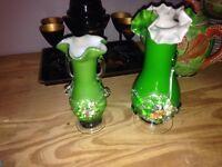 2 Fenton studio glass vases