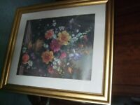 Large Flower picture in Gold frame - approx 33 x 24 inch.