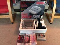 Snes Super Nintendo boxed console & game