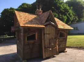Wonkey hobbit house tree kids play bespoke rustic cedar shingle playground play structure