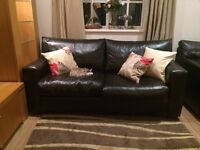 Two Brown Leather Sofa Beds (5 years old - good condition) ! £400!! Collection Only