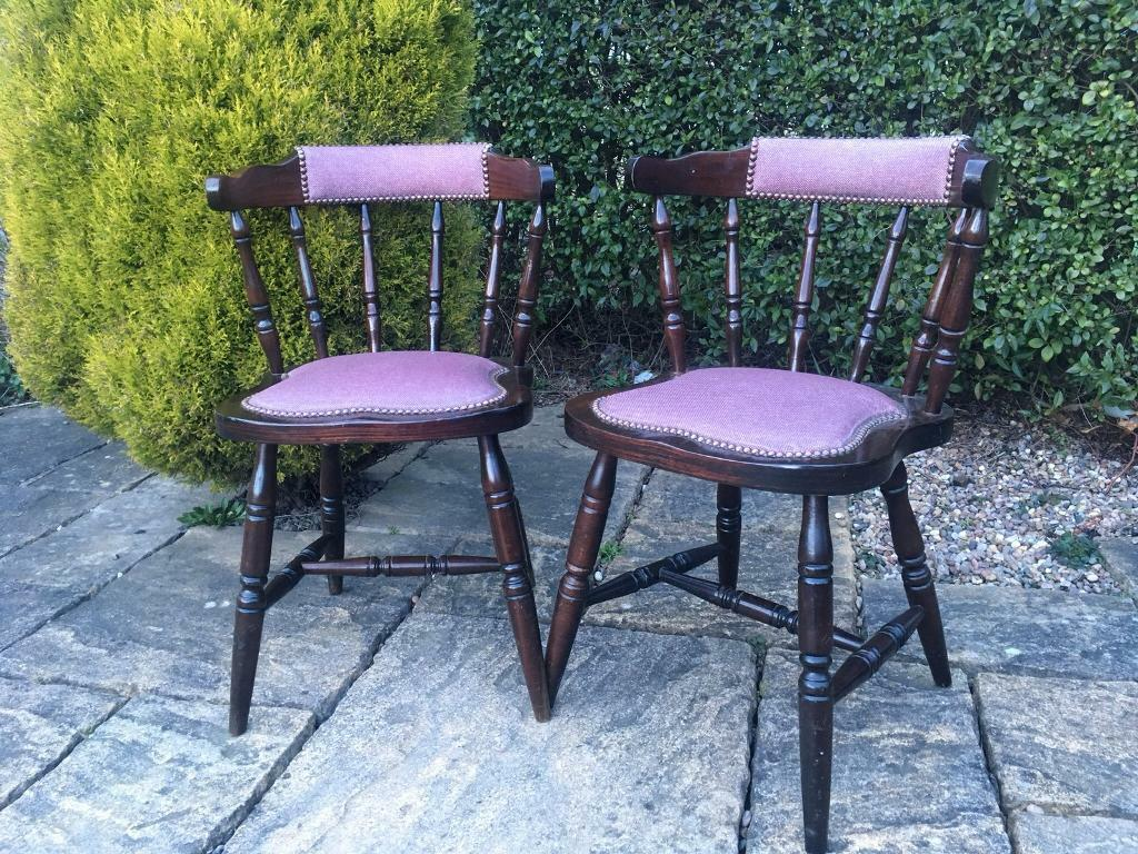 Incredible Pair Oak Spindle Back Chairs Smokers Bar Chairs Upholstered Vintage Shabby Chic In Batley West Yorkshire Gumtree Caraccident5 Cool Chair Designs And Ideas Caraccident5Info