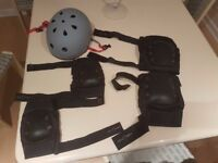Large Grey ProTec helment and large protec kneepads + elbow pads - as new