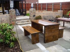 HAND MADE DINING/COFFEE TABLES,BEDS,SIDEBOARDS,TV UNIT,DRESSERS,GARDEN&PATIO BENCHES FROM £49 LOOK