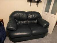 Blue leather 2 seater settee
