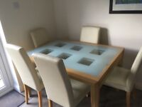 Extendable Dining Table and 6 cream chairs