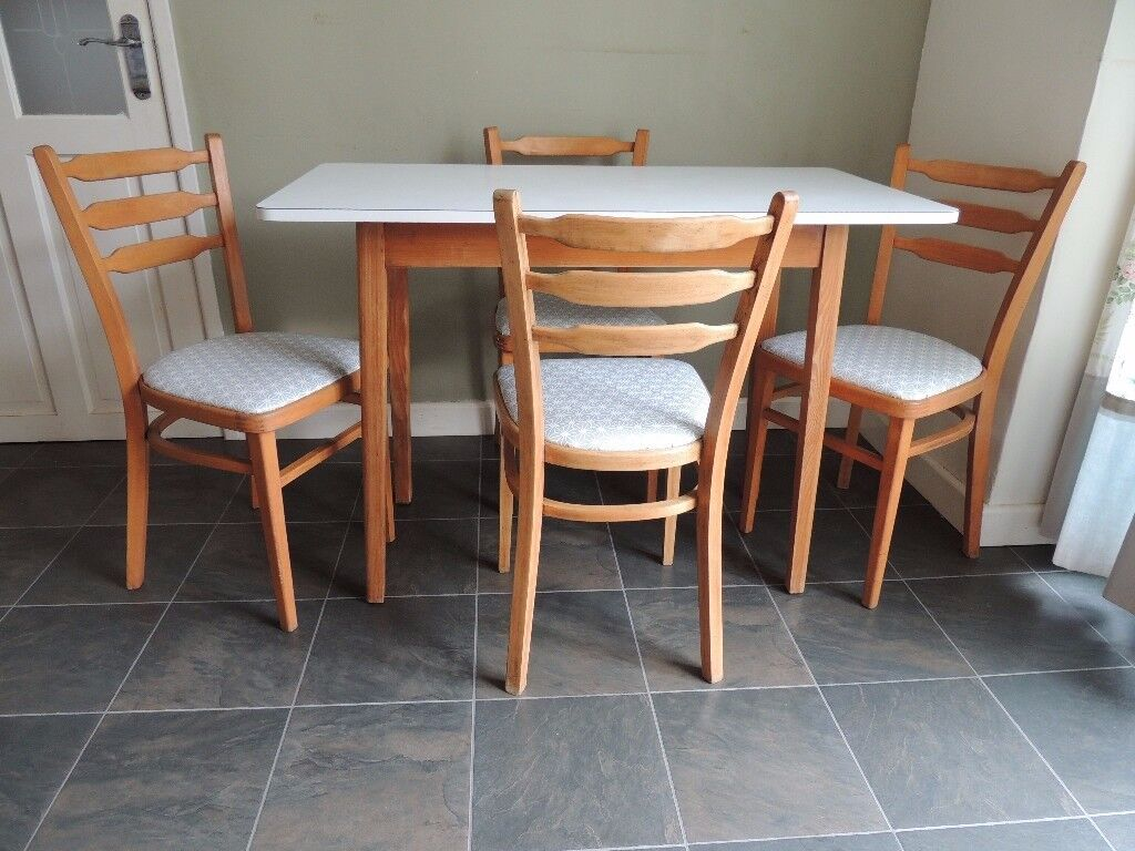 Retro Formica Kitchen Dining Table and Four Chairs