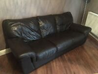Brown Leather 3 Seater & 2 Seater Sofas
