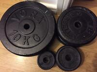 Dumbbell Plates Cast Iron Weight Discs Body Stregth Gym Training 16 Piece Set