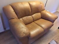 Tan Leather 3+2 seater sofas