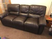3 seater sofa in brown leather