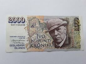 Icelandic Krona (2000 ISK Notes)