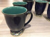 Denby Harlequin Footed Mugs x 6 - Excellent condition