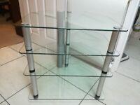 4 tier glass and brushed aluminium hi fi stand