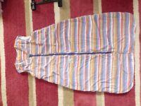 Sleeping bag - grobag type - zip down front - stripey boy or girl - 6-18 months 2.5 tog