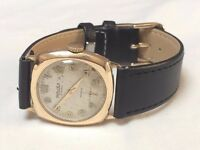 vintage mens solid 9k 9ct gold Majex cushion watch (very cheap gold watch)