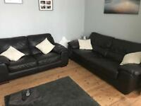 Dark brown leather sofas (1 x 2 seater and 1 x 3 seater)
