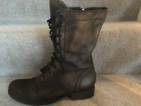 All Saints size 40 Dark grey leather combat boots