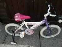 """Raleigh Sunbeam Flutter 16"""" Girls Bike With Stabilisers"""
