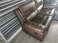 Leather recliner brown sofas