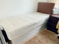 Single Divan Bed with Mattress & Headboard