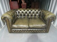 Chesterfield two seater bottle green