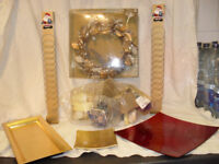 Bag of candles, card hangers, wreath and gold and red trays