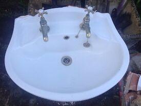 bristan bathroom sink white with taps £20