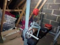 Weight bench and ab crunch machine plus weights