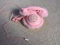 Pink fluffy traditional phone