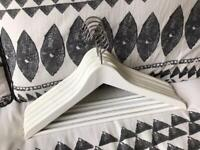 Five White Wooden Hangers (Clothes, Coats, Trousers)