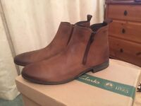 Clarks 'Chart Zip' boots – Tobacco Suede, never worn (size 8.5)