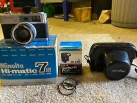 Minolta hi-matic 7s camera and flash