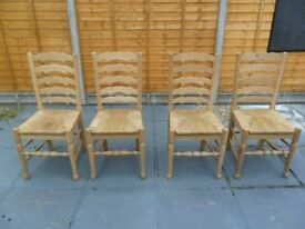 solid oak high back chairs x 4 totally mint condition no table pick up from gosport po12