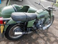 1994 Neval Ural 650cc kickstart with sidecar in matt green outfit combination
