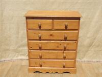 6 Drawer Pine chest of drawers with dovetails (Delivery)