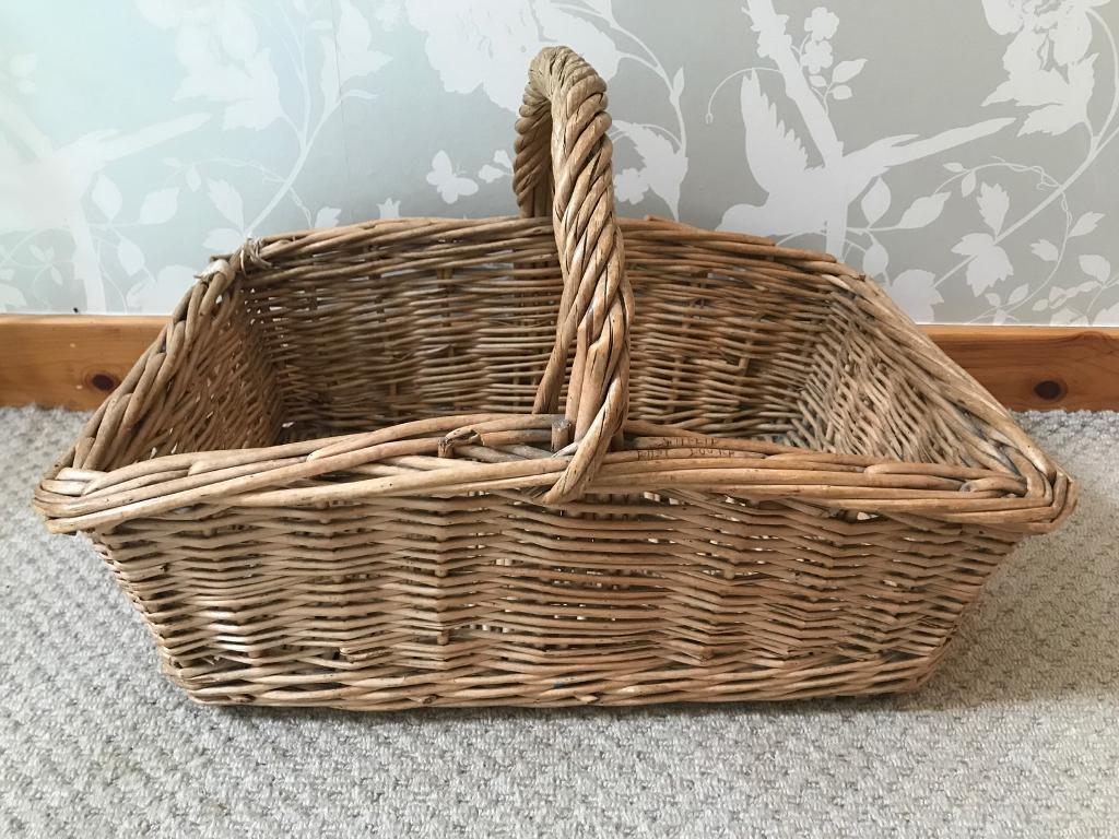 Vintage wicker basket - picnic fireside log flowers centre piece