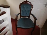 Dining Chair with arms, button back, decorative detail