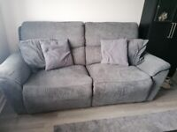 Grey fabric 3 and 2 Seater recliner sofas