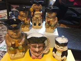 Group of 6 Character/Toby jugs