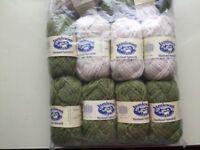 Knitting wool. Jamieson's Spindrift. Five 25g balls Granny Smith, three 25g balls Ivory. Unused.