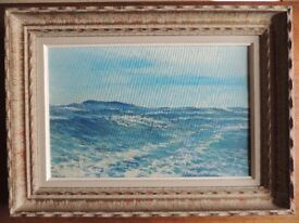 Vintage Oil Painting on Board of Seascape Signed by Artist