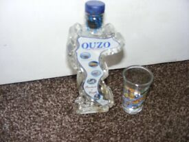 Decorative Collectable Empty Ouzo Bottle & Shot Glass.