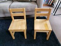 2 x Solid wood children's chairs