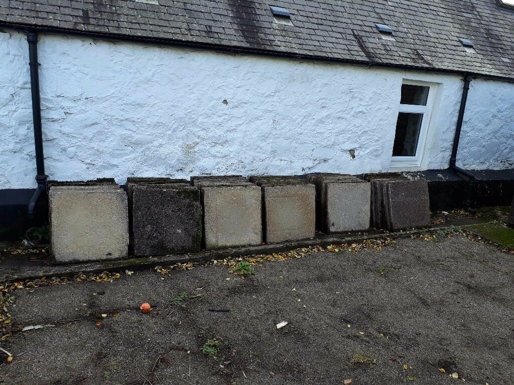 Free. Used concrete slabs 24 inch x 24 inch x 2 inch (610mm x 610mm x 50mm). Collection only.