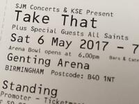 2x Take That StandingTickets for Genting Arena Birmingham, Sat 6th May